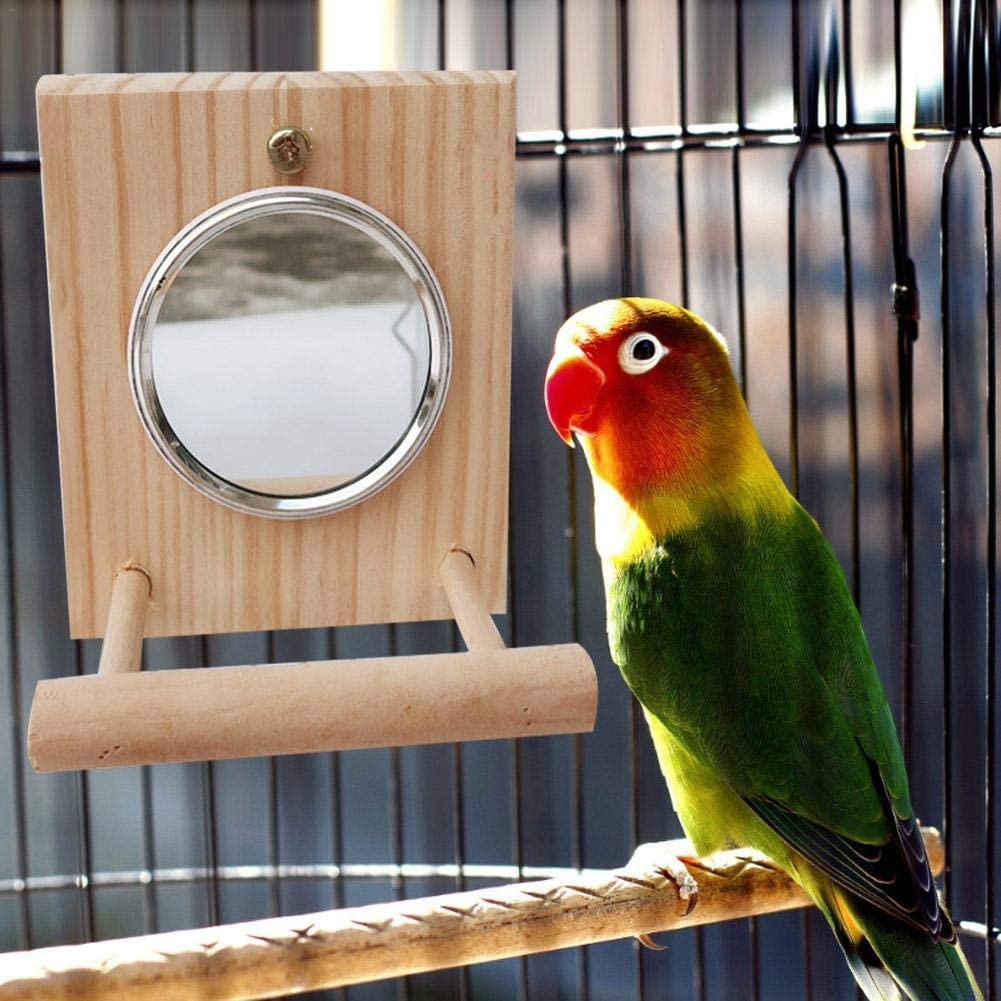 Cage Accessories Stands Exercise Toy for Pet Small Medium Parrot Budgie 12X10X5cm Bird Perch Stand Platform Toy with Mirror mementoy Parrot Stand Perch