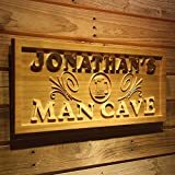 "wpa0169 Name Personalized Man CAVE Beer Mug Decoration Wood Engraved Wooden Sign - Standard 23"" x 9.25"""