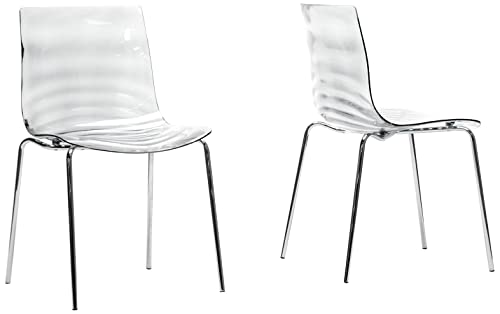 Baxton Studio Marisse Plastic Modern Dining Chair, Clear, Set of 2