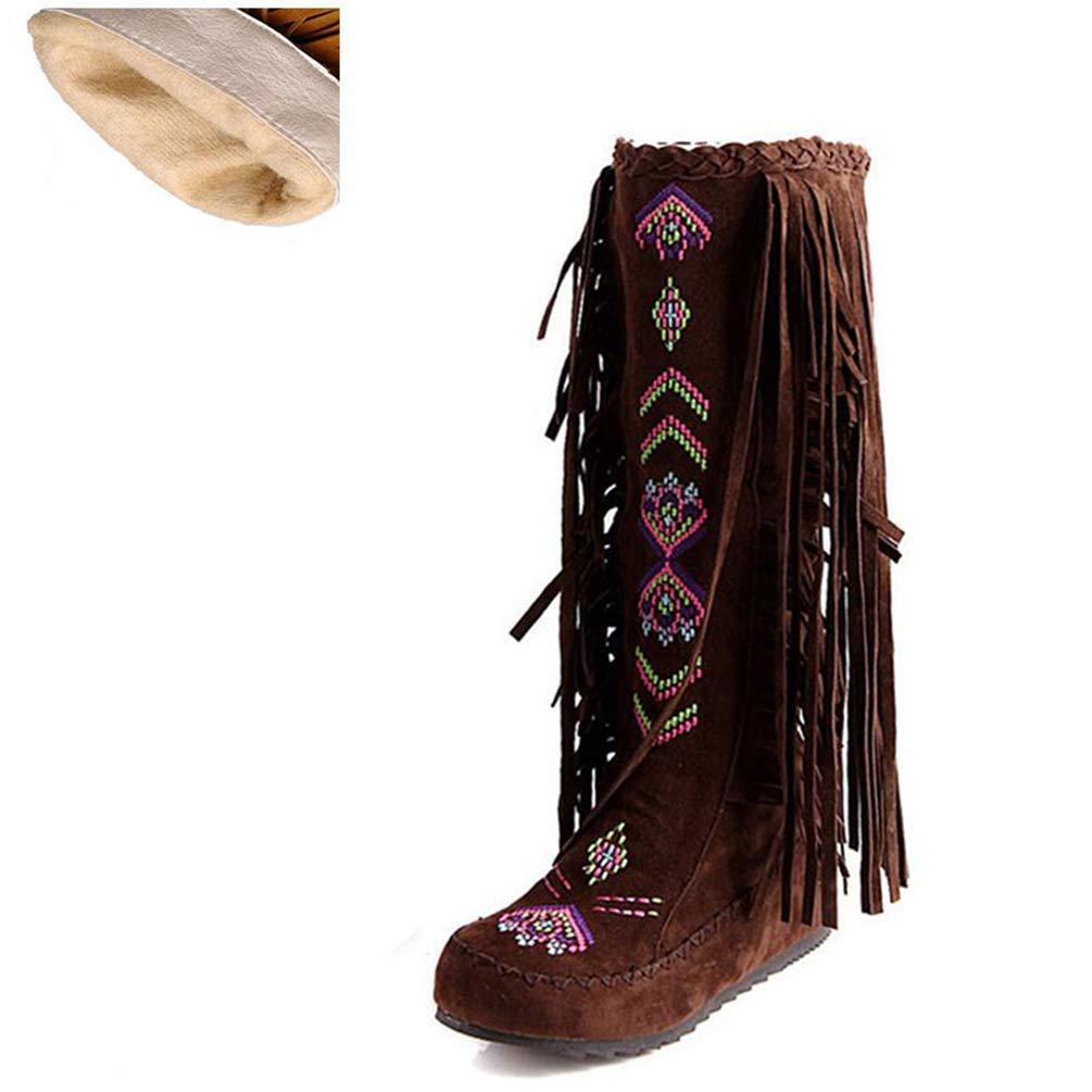 ZHRUI Frau Stiefel Mode Stil Flock Leder Frauen Flache Absätze Lange Schuhe Weibliche Quaste Kniehohe Stiefel (Farbe   braun Short Velvet Größe   5=38 EU)