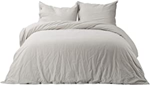 Bedsure 45% Cotton 55% Linen Duvet Cover Queen with 2 Pillow Shams - Full Size(90x90 inch), 3 Pieces Ultra Soft Breathable Beding Comforter Cover Sets with Button Closure, Greige Natural Color