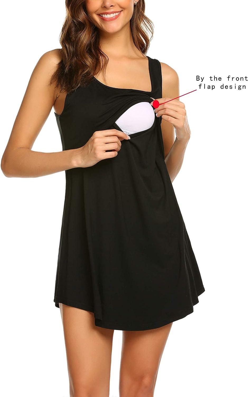 Ritera Womens Maternity Nursing Nightdress Nightie V Neck Nursing Shirt Gown V Neck for Breastfeeding,S-XL