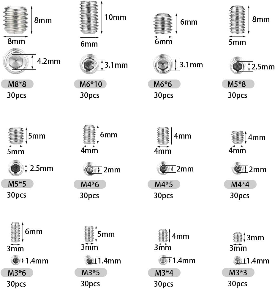 Acero inoxidable 304 365 pzs punto de taza Tornillos prisioneros de cabeza hexagonal M3 M4 M5 M6 M8 con llave Allen M1.5 M2 M2.5 M3 M4 Kits