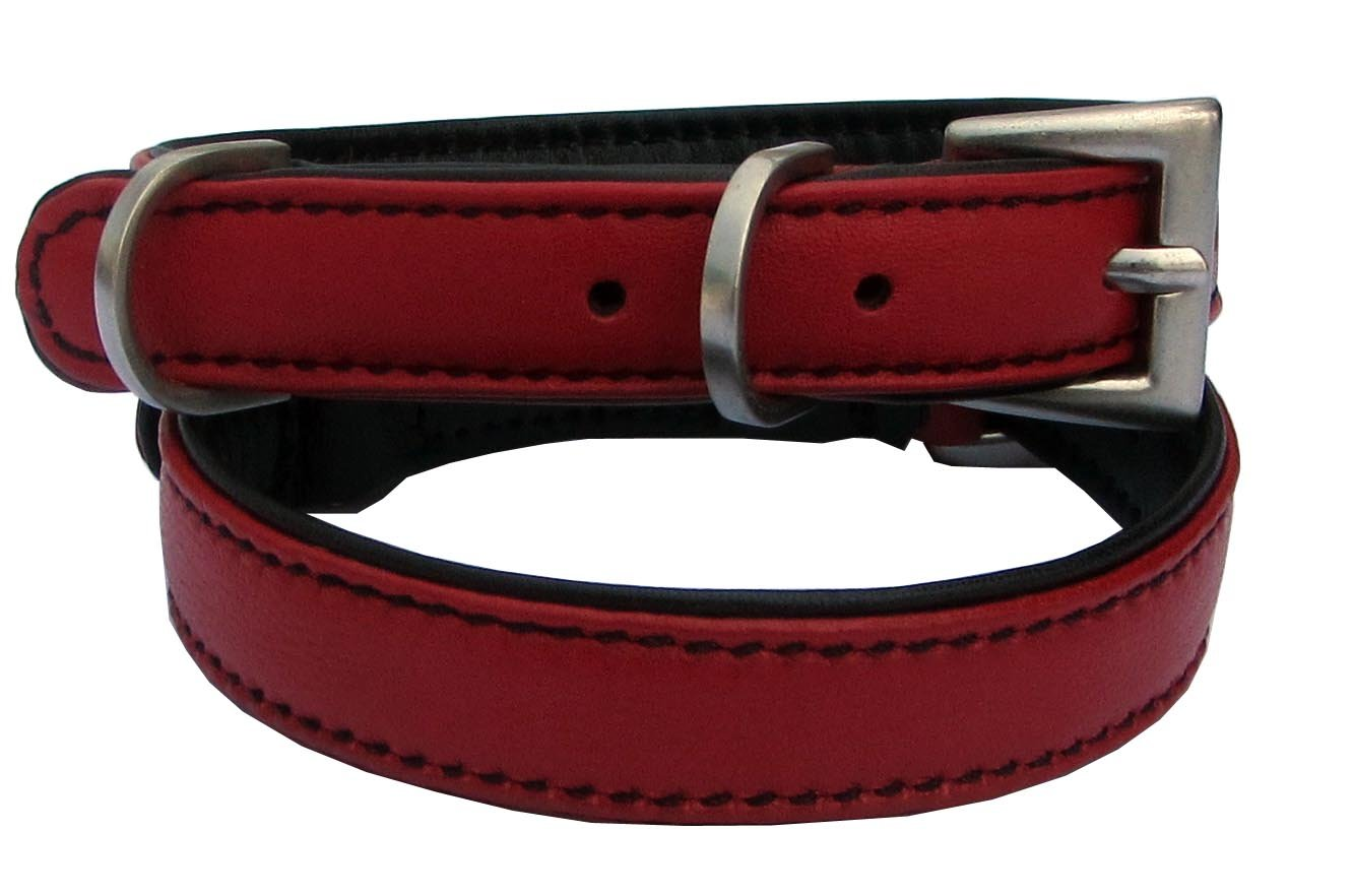 Red with Black Padding Small Neck Size 8-11 inches Red with Black Padding Small Neck Size 8-11 inches BeauCou Luxury Real Leather Padded Dog Puppy Collar, RED, Small  Fits Neck Size 8-11 inches