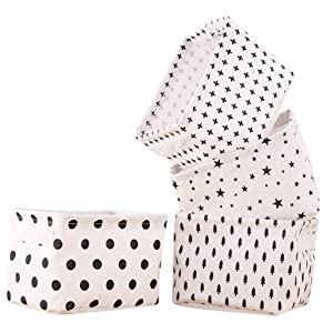 Rainbow-Lee Small Canvas Storage Bins, Mini Cute Foldable Fabric Storage Basket Box, Toy Organizer Hamper for Baby,Kids,Pets,Office, Makeup, Keys,Shelves,Desk,Liitle Items 4 Pack(Black&White)