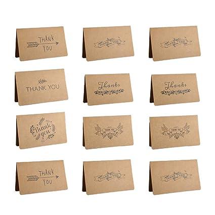 Amosfun 12 piezas tarjeta de felicitación papel kraft ...