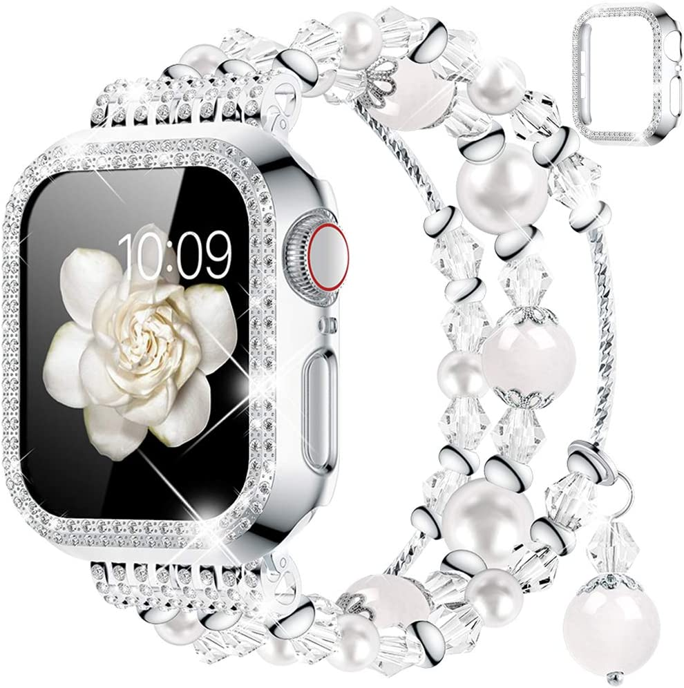 Goton Compatible for Apple Watch Band 42mm, Women Girls Handmade Natural Agate Pearl Bracelet Strap Crystal Pearl Elastic Replacement Watchband for iWatch Bands Series 3/2/1 (White, 42mm)
