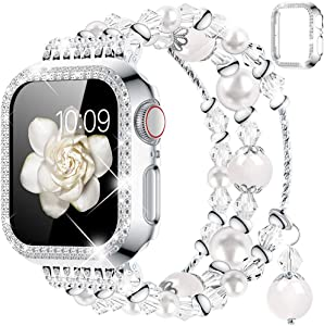 Goton Compatible for Apple Watch Band 40mm , Women Girls Handmade Natural Agate Pearl Bracelet Strap Crystal Pearl Elastic Replacement Watchband for iWatch Bands Series SE/6/5/4 (White, 40mm)