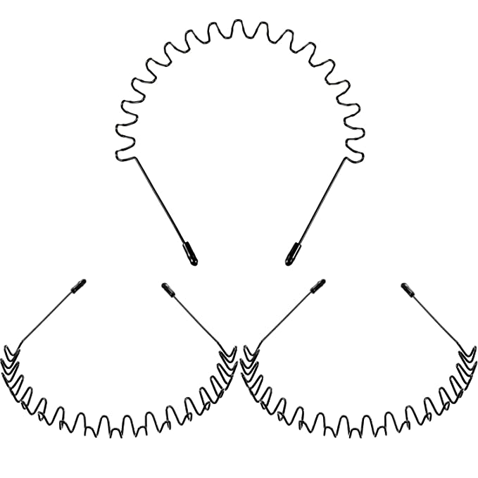 Details about  /Men Women Metal Sport Biker Hairband Wave Hair Band Hood Headband Black