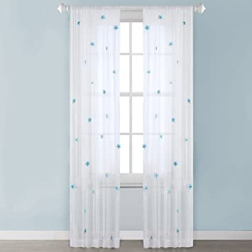 Mi-Zone White Sheer Curtains for Bedroom, Modern Contemporary Window  Curtain for Living Room, Lily Floral Rod Pocket Blue Curtain Sheers, 52X63,  ...