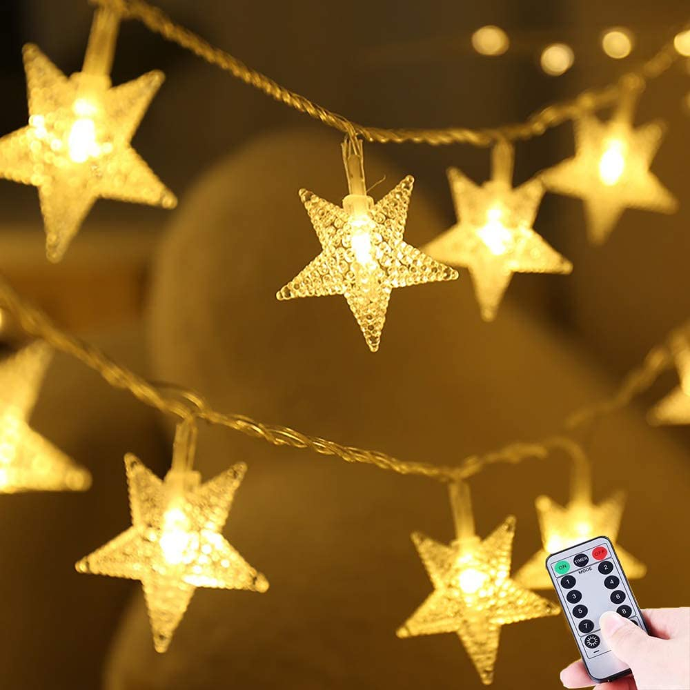 HUGSVIK Battery Operated Star Lights for Bedroom, 50 LED 8 Modes Warm White Star Lights for Kids Tent, Waterproof Christmas Lights for Bedroom Christmas Wedding Party Canopy Playhouse Camping Awning