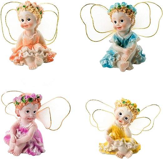 Cplapli - Juego de 4 figuras decorativas para jardín de hadas (resina, miniatura), diseño de ángeles, multicolor: Amazon.es: Jardín
