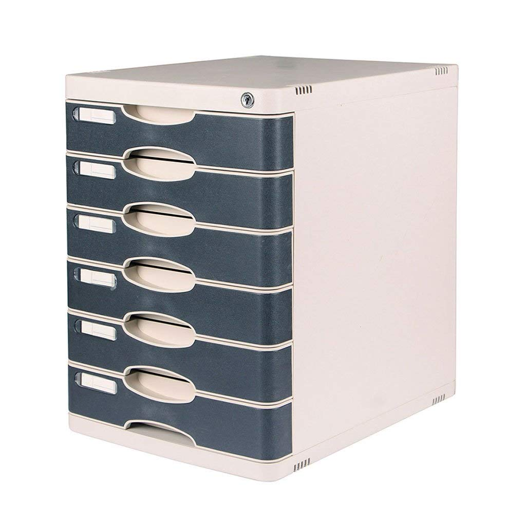 File Cabinets 6 Layers Lockable Desktop Plastic Drawer Data Office Storage Box Document Filing Cabinet Flat File Cabinets