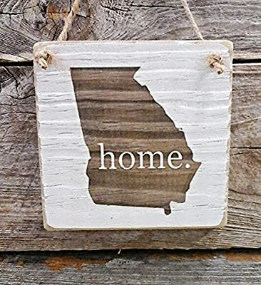 Georgia Home Hanger - Reclaimed Wood Ornament - Georgia Decor (small keepsake 4 inches by 4 inches)