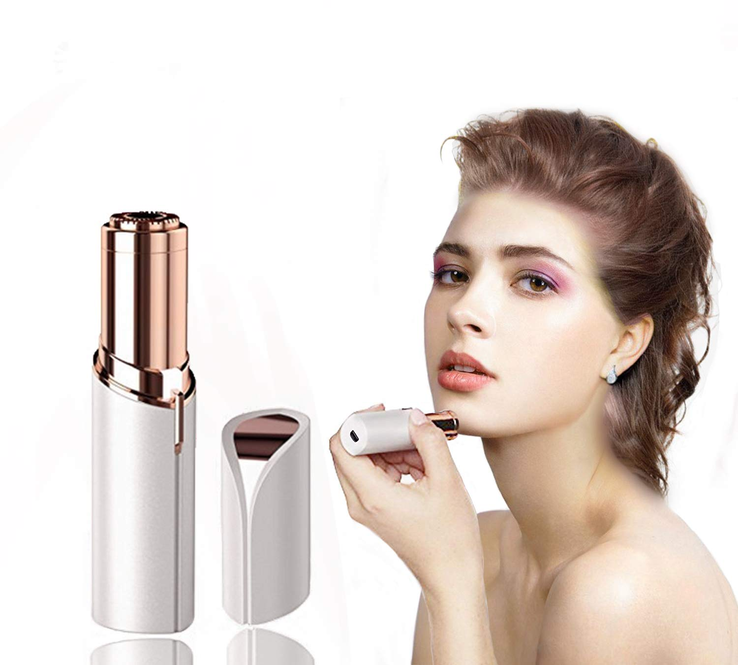 Women's Painless Hair Facial Remover, Remove Hairs on the Upper Lip, Chin, Cheeks, Sideburns, Mini Portable Travel Size with LED Light By Verfanny,white by Verfanny (Image #1)
