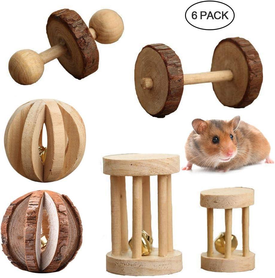 Juego de 6 juguetes para masticar sirios/enanos para dientes, bola de madera de pino natural de AUOKER, rodillos para ejercicios, palos de molar, accesorios para de hámster, chinchilla, cobaya,conejo