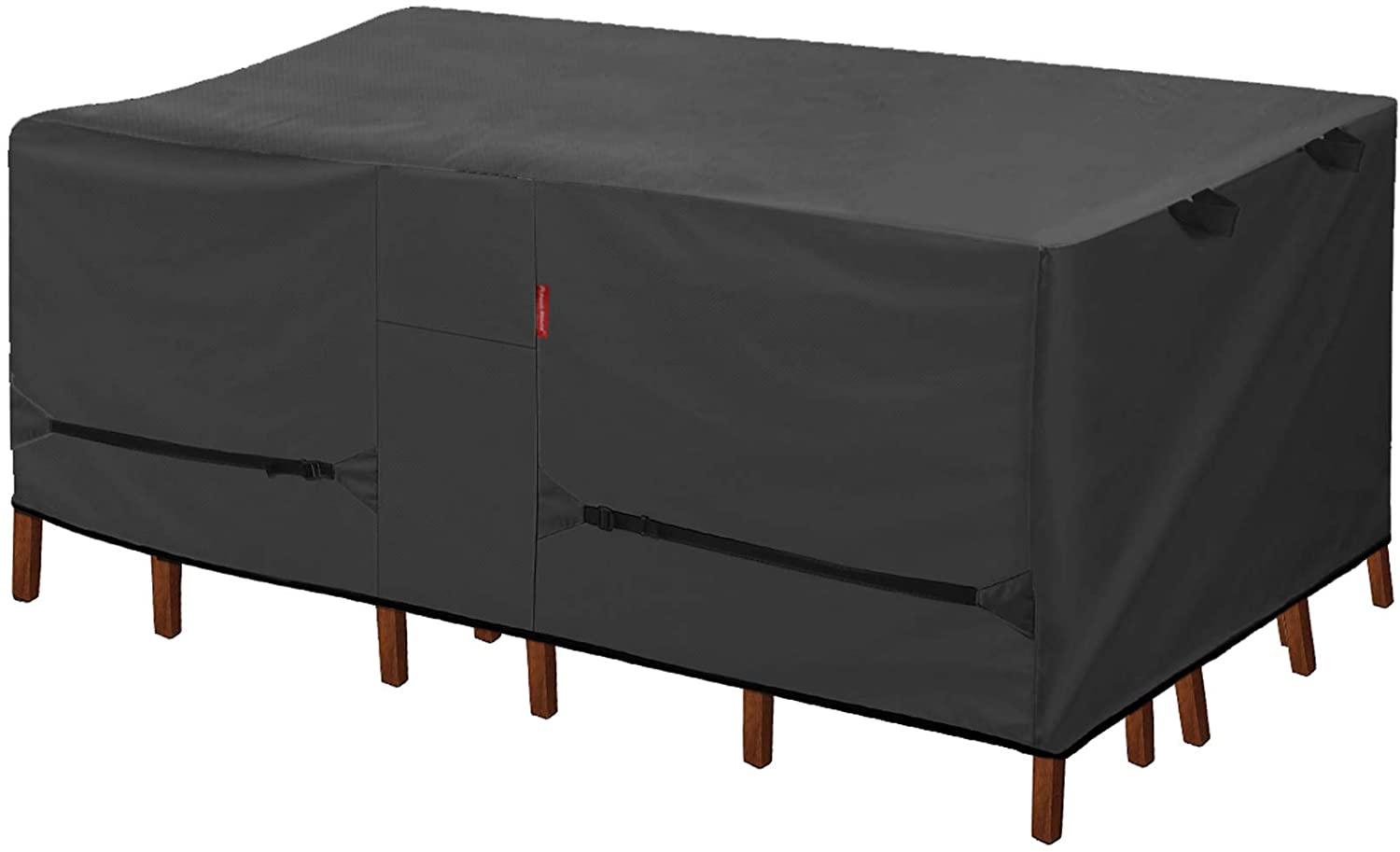 Porch Shield Patio Table Cover - Waterproof Outdoor Dining Table and Chairs Furniture Set Cover Rectangular - 108 x 70 inch, Black