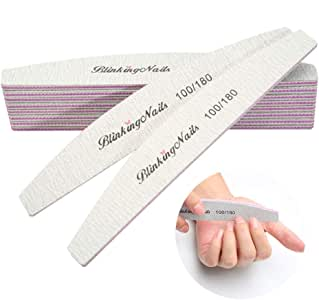 Nail Files and Buffers Professional Nail File 100/180 Grit Sanding File Set Double Side Washable Block Filen Nails Disposable Nail Files Bulk of Nail Art Tools