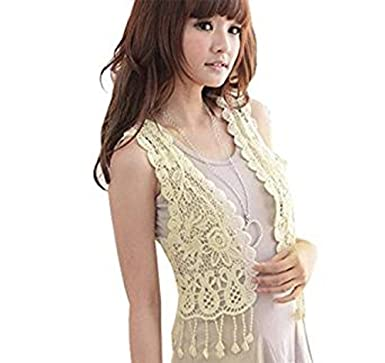 f74788a90 Ladies Sleeveless Gilet Top Vest Crochet Hollow Tassel Blouse Top Cardigan  Beige Short Summer Waistcoat Summer (Beige): Amazon.co.uk: Clothing