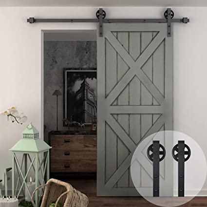 Ordinaire WINSOON 5 16FT Single Wood Sliding Barn Door Hardware Basic Black Big Spoke  Wheel Roller