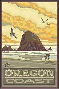 Haystack Rock Oregon Coast Giclee Art Print Poster from Original Travel Artwork by Artist Paul A. Lanquist 12