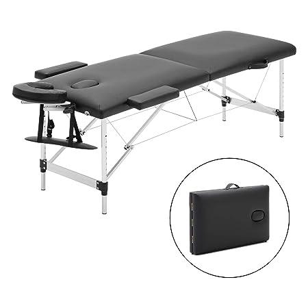 Meerveil mobile Massageliege klappbare Therapieliege tragbares Massagebett leichter Massagetisch 2 Zonen mit höhenverstellbar