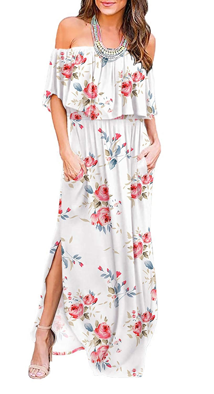 9280772c3 Amazon.com: LILBETTER Womens Off The Shoulder Ruffle Party Dresses Side  Split Beach Maxi Dress: Clothing