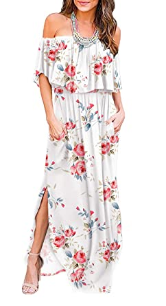36f87c0831b1 Amazon.com: LILBETTER Womens Off The Shoulder Ruffle Party Dresses Side  Split Beach Maxi Dress: Clothing