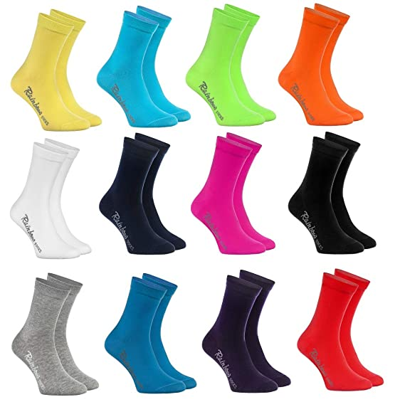 8270d145281a96 Rainbow Socks - Fille et Garçon - Chaussettes de Coton Enfants - 12 paires  - Multicolore