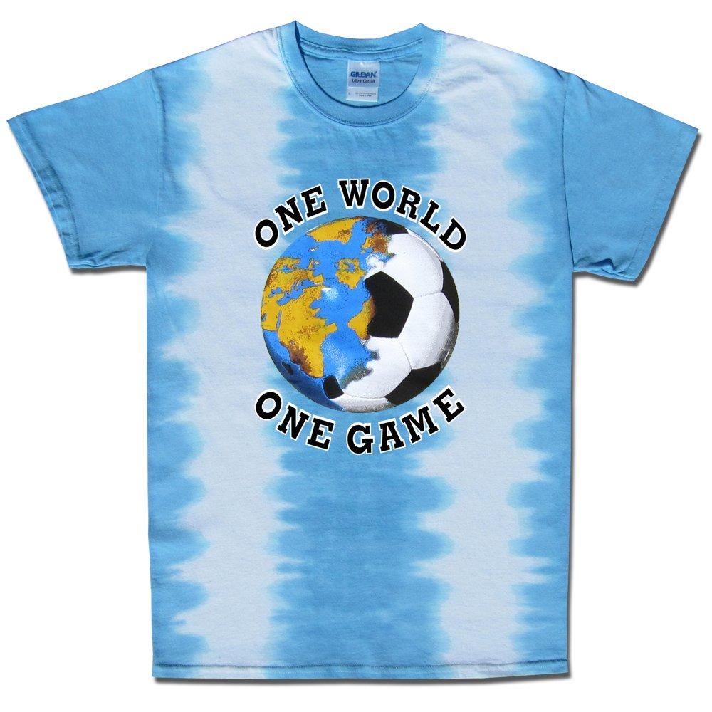 サッカーt-shirt-one世界Tie dye-argentina B076H7XF1HLight Blue, White Youth Small