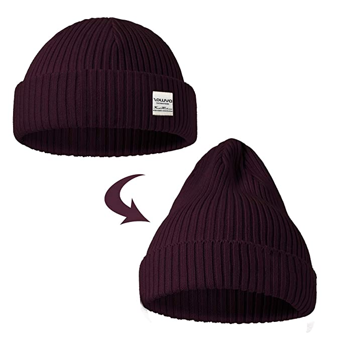 6cdcf63f7c8 ZOWYA Classic Warm Winter Hats Knit Cuff Beanie Cap Daily Beanie Hat for  Men Women Burgundy