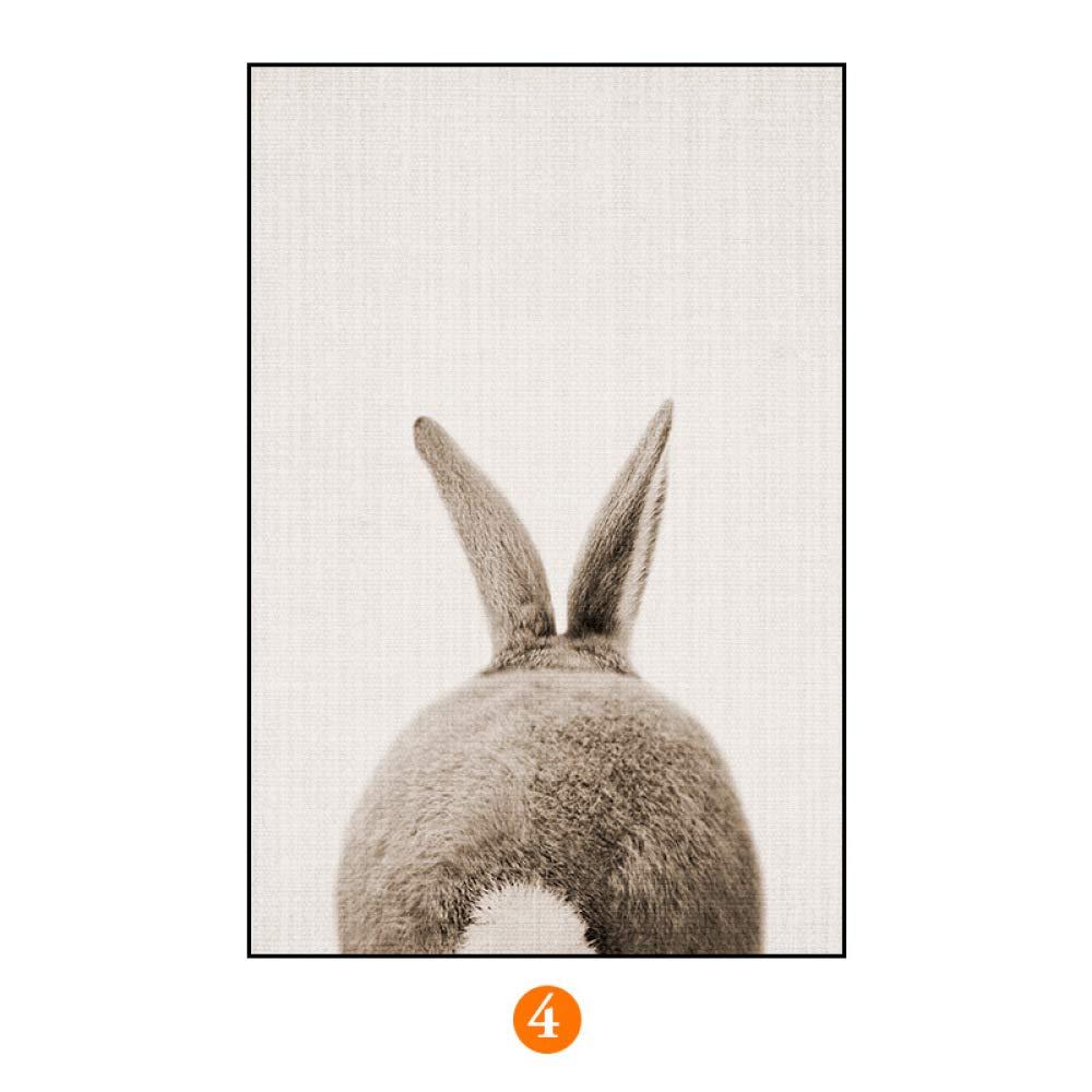 DEE Pintura Decorativa del pórtico Animal Minimalista Moderno del Modelo, Pintura de la Sala de Estar del Dormitorio de la habitación de los niños, tríptico Vertical,E,50  70
