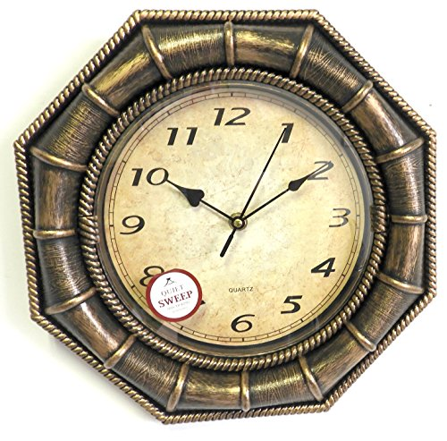 DINY Home & Style Antique Gold Wall Clock Quiet Sweep Second Hand Non Ticking Technology Hand Quartz Movement