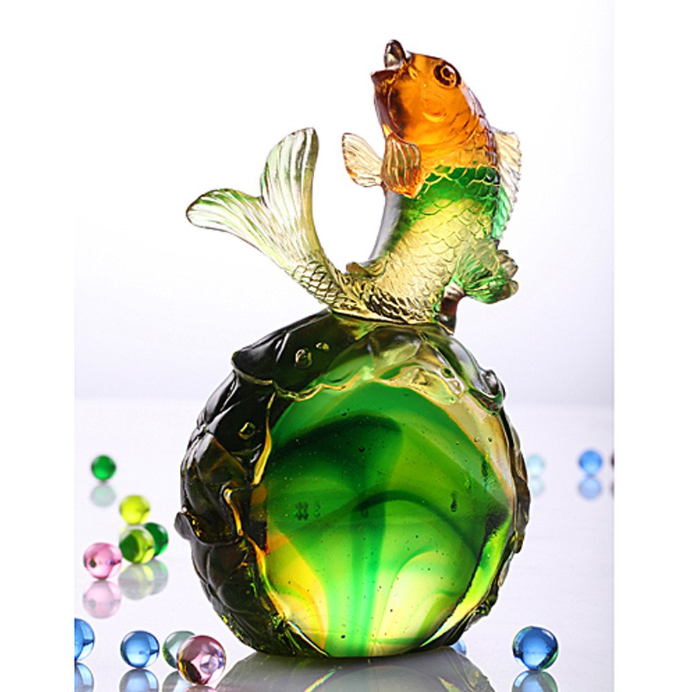 LIULI Crystal Art Fish Home Decor Paperweight Decoration for Fortune Wealth Success Prosperity [Somersault to the Top]