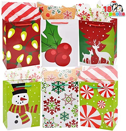 18 Christmas Gift Bags, Holiday Paper Goody Bags with Handles 9.3X 3.8X 7 for Xmas Gift Giving, Classroom Party Favors Goodie Bags