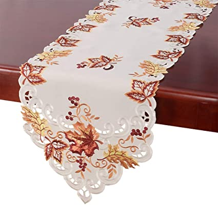 Charmant GRELUCGO Elegant Thanksgiving Holiday Table Runner, Embroidered Maple  Leaves Fall Table Linen, 15 By