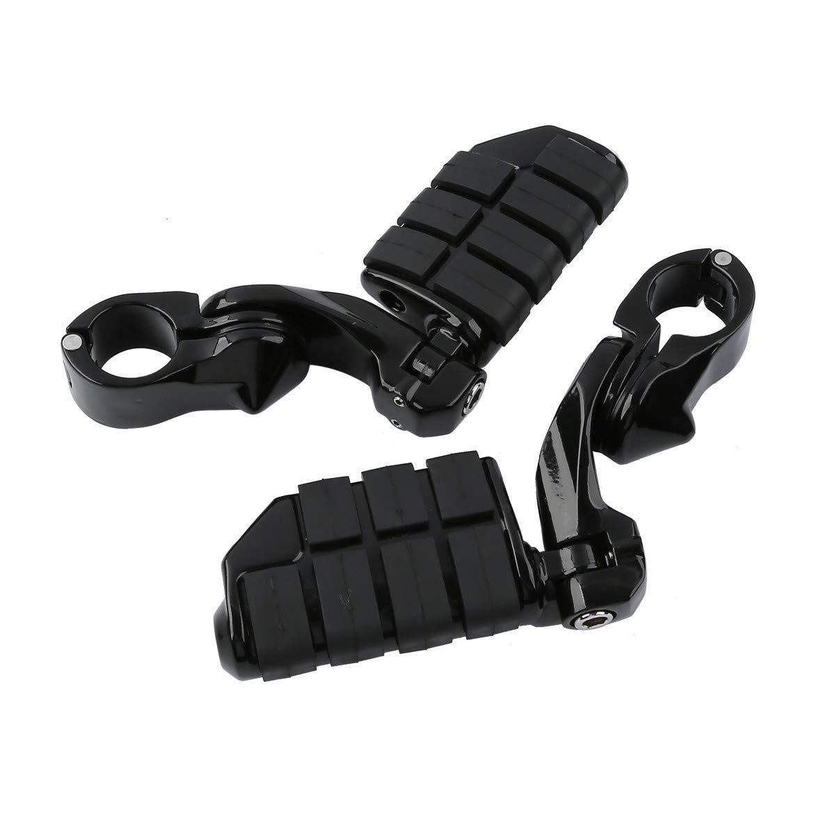 Motorcycle Footboards Universal 32mm Adjustable Highway Foot Pegs Footpeg Footrest Bracket Set For Honda┃ Kawasaki┃ Suzuki┃ Yamaha ┃Harley Black