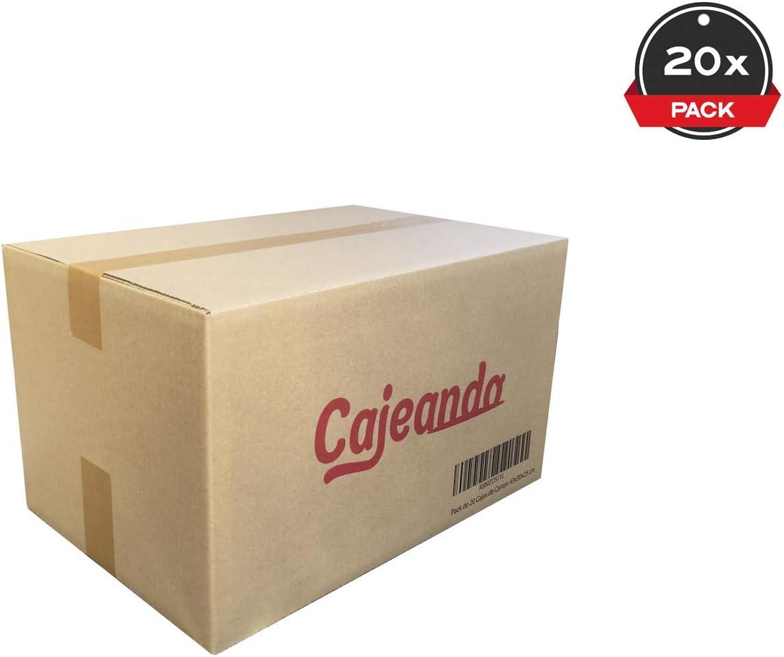 Cajeando | Pack de 20 Cajas de Cartón | Tamaño 43 x 30 x 25 cm | Canal Simple de Alta Calidad Reforzado y Resistencia | Mudanza y Almacenaje | Fabricadas en España ...