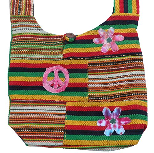 Shoulder Bag Rasta Trade Fair Flower Peace amp; Cotton Gheri nPndH8qY