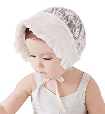 197f161b Sumolux Toddler's Mesh Hollow Out Sunbonnet Baby Girl's Lace Floral Pattern  Beanie Princess Infant Visor Summer
