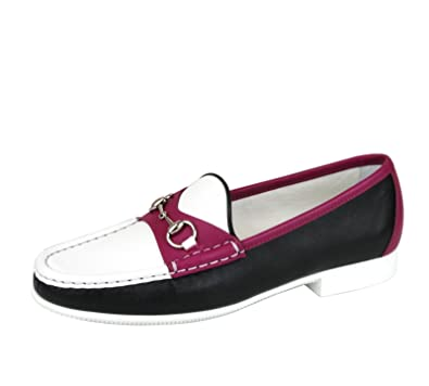 Gucci Rafer Cuero Mocasines Horsebit Mocasines 338358 (8.5 U.S. / 38.5, Negro/Blanco