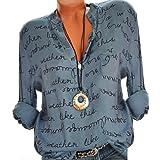 UFACE Damen Damenmode V-Ausschnitt Print Langarm-lose Tops T-Shirt Bluse Mode Dame Tshirt Lange ärmel Shirt Damen