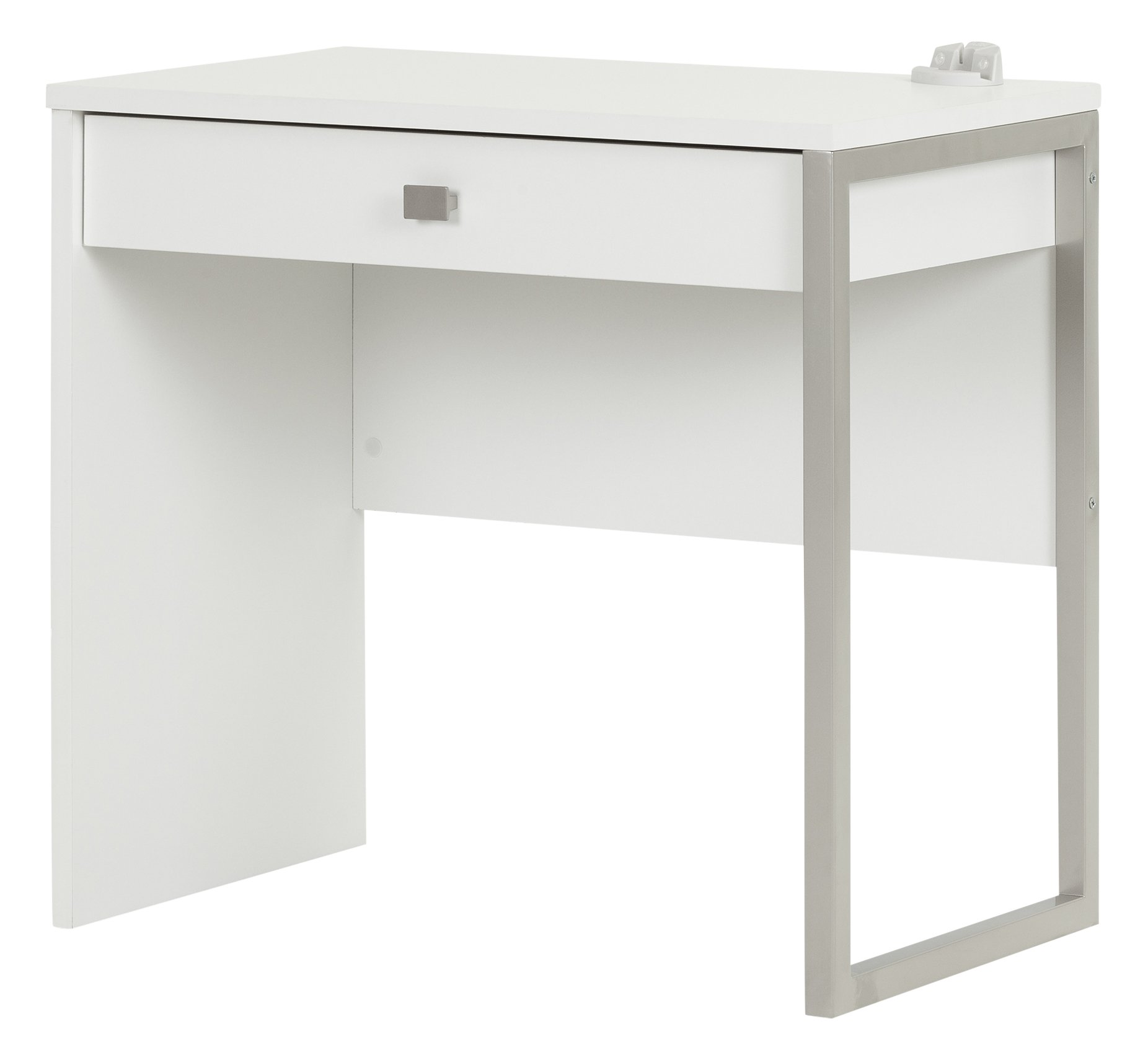 South Shore Interface Small Modern Simple Design Laptop/Study Desk with 1 Drawer, Pure White by South Shore
