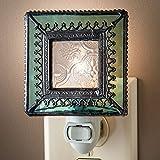 J Devlin NTL 166 Vintage Styled Stained Glass Decorative Night Light with Aquamarine Trim