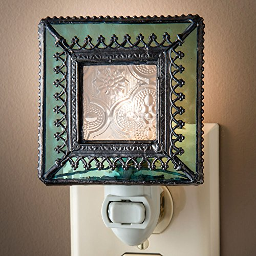 J Devlin NTL 166 Vintage Styled Stained Glass Decorative Night Light with Aquamarine Trim