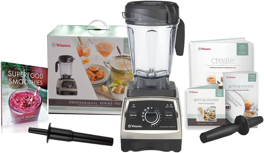 Vitamix Professional Series 750 Blender 1944 with Superfood Smoothies 100 Delicious, Energizing Nutrient-dense Recipes Book and Two Accelerator Tamper Tools Brushed Stainless Finish