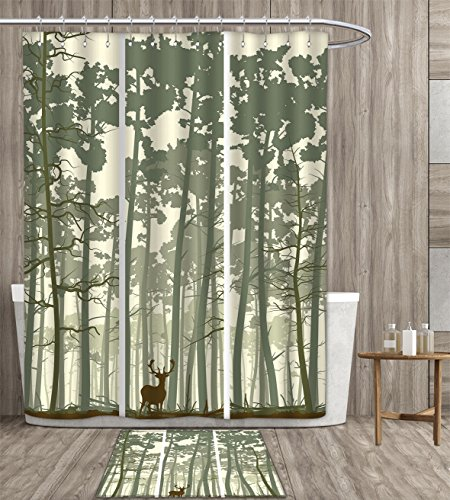duommhome Forest Shower Curtain customize Vertical Stripes with Tall Trees and Lonely Deer Nature Illustration Fabric Bathroom Set with Metal hook 72x72 inch Sage Green Cream Brown gift bath rug
