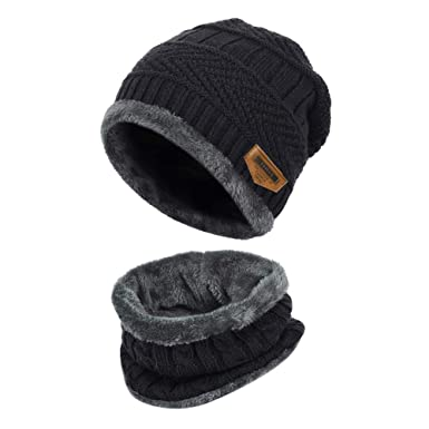 e132127b2f1 Vbiger Kids Warm Knitted Beanie Hat and Circle Scarf Set