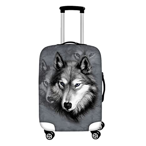 802edb0d9344 Instantarts Grey Personalized Wolf Mens Luggage Cover for Travel for 22-26  inch Suitcase