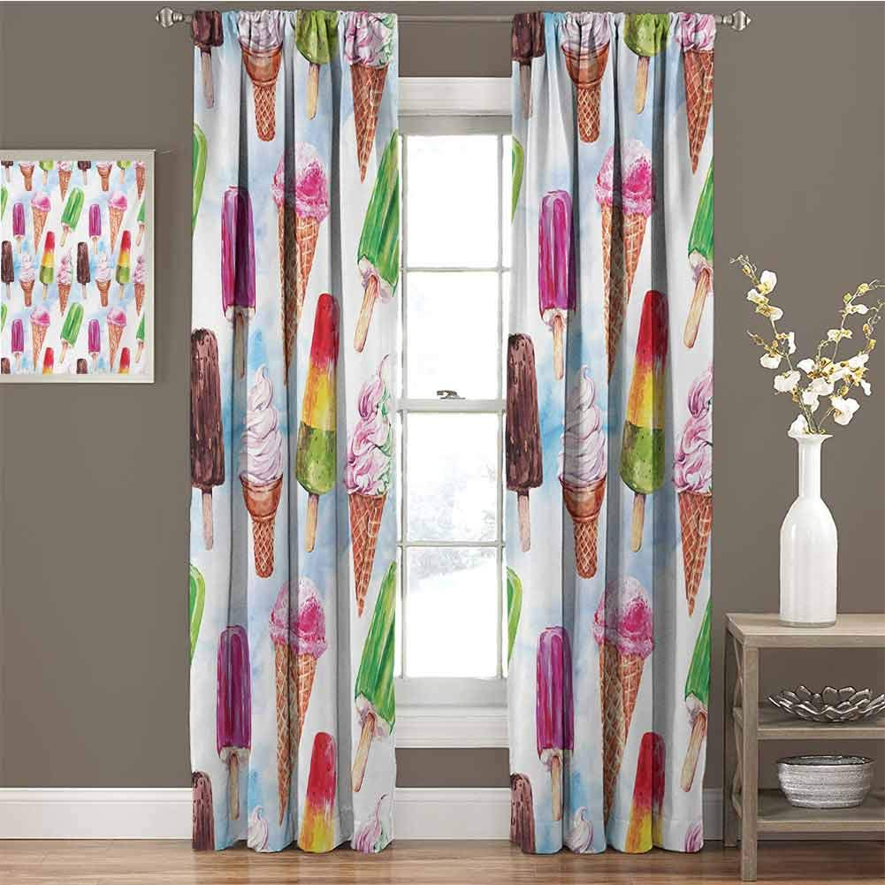 zojihouse Ice Cream Surreal Exotic Type Ice Cream Motif with Raspberry Kiwi Flavor Colorful Display Customized Chid Curtains Multicolor 2 Panels Bedroom Kitchen Curtains W84xL84 by zojihouse